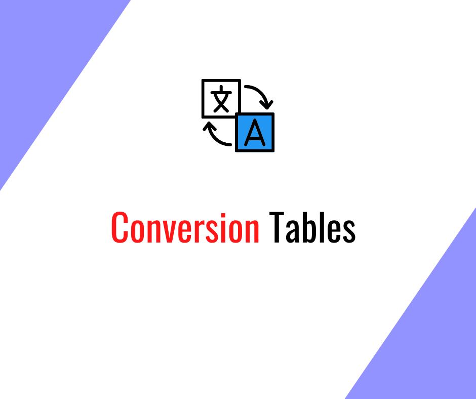 Alien Logistics useful shipping tools, Conversion tables